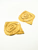 YSL Vintage  Gold Swirl Ear Plate Oversized Earrings