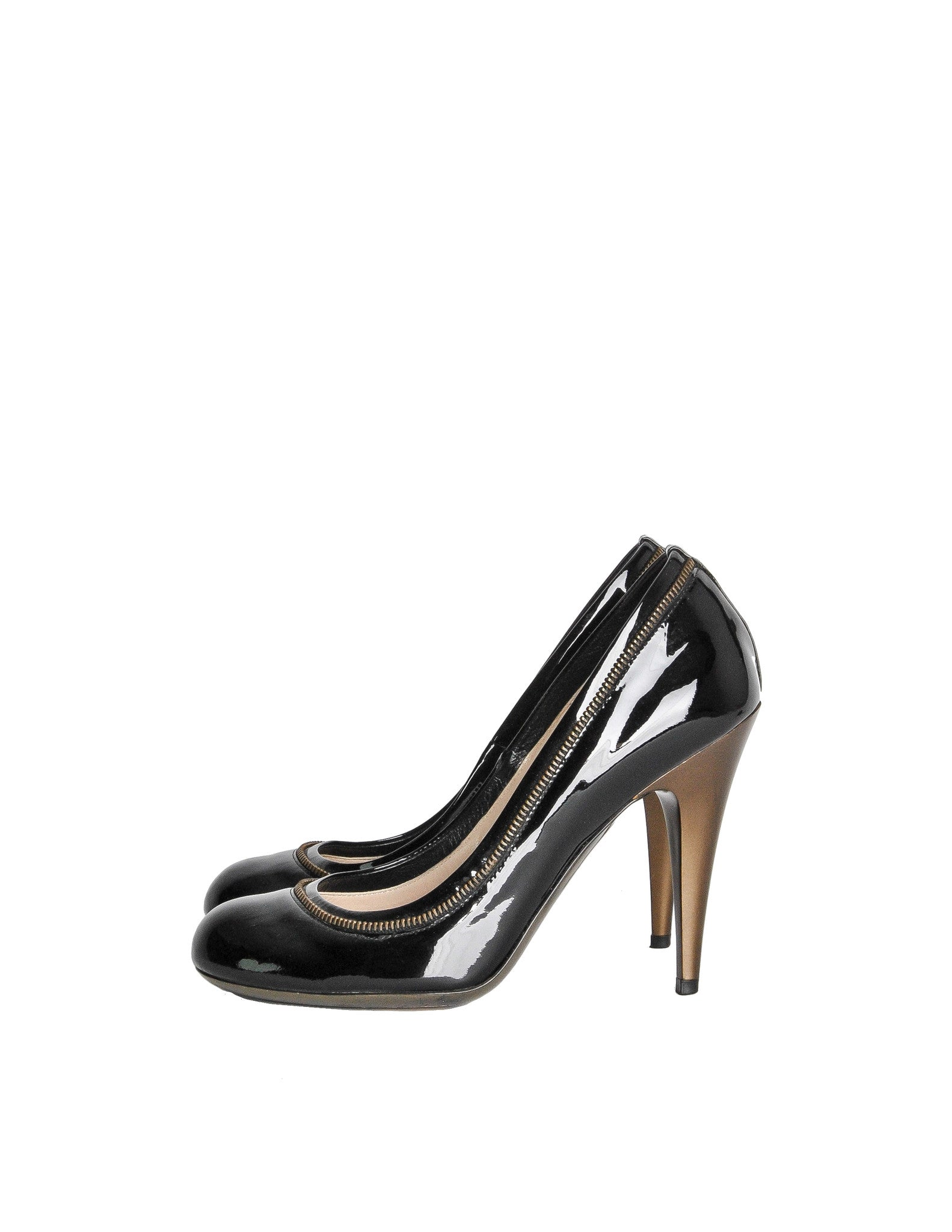 YSL Black Patent Leather Zipper Heels - Amarcord Vintage Fashion  - 1