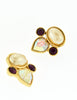 YSL Vintage Pearl Rhinestone Iridescent Heart Earrings - Amarcord Vintage Fashion  - 3
