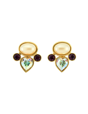YSL Vintage Pearl Rhinestone Iridescent Heart Earrings