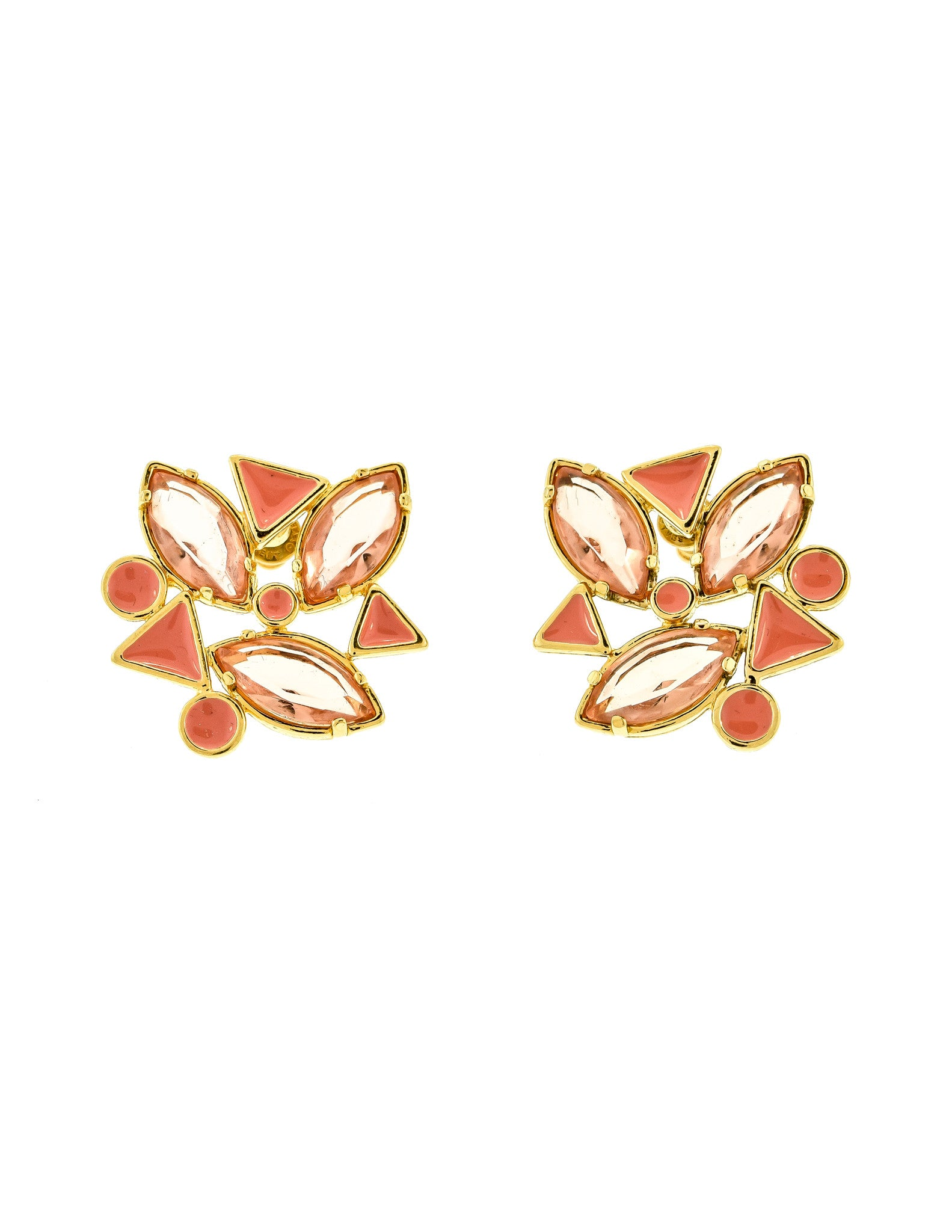 YSL Vintage Pink Enamel Rhinestone Geometric Earrings - Amarcord Vintage Fashion  - 1
