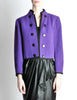 Saint Laurent Rive Gauche Vintage Purple Wool Bolero Cropped Jacket - Amarcord Vintage Fashion  - 4