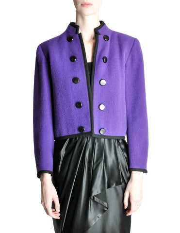 Saint Laurent Rive Gauche Vintage Purple Wool Bolero Cropped Jacket