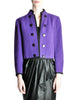 Saint Laurent Rive Gauche Vintage Purple Wool Bolero Cropped Jacket - Amarcord Vintage Fashion  - 1
