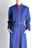Saint Laurent Rive Gauche Vintage Blue & Red Wool Coat - Amarcord Vintage Fashion  - 4