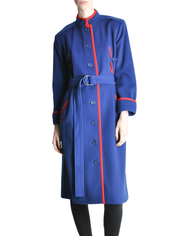 Saint Laurent Rive Gauche Vintage Blue & Red Wool Coat
