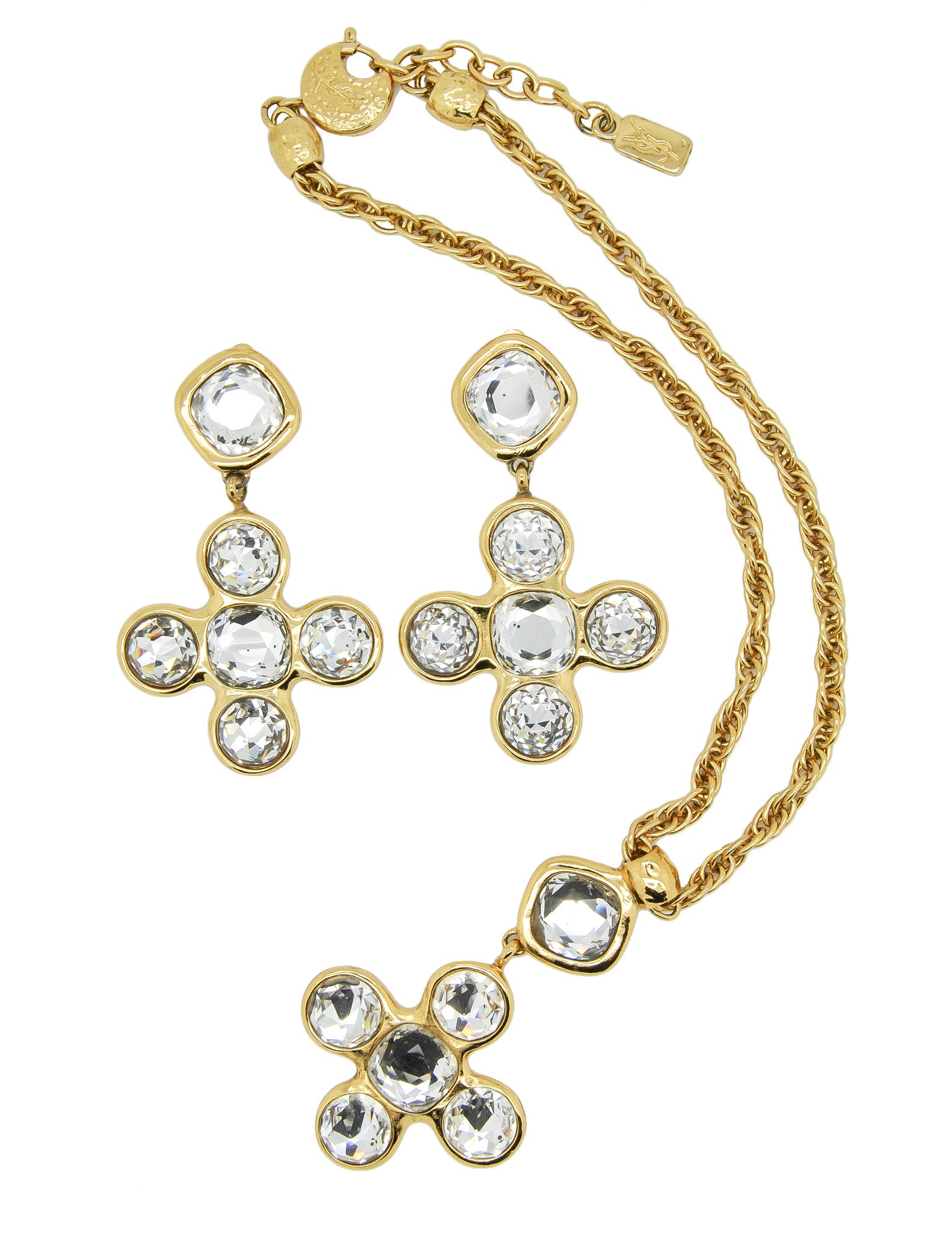 YSL Vintage Robert Goossens Crystal Byzantine Cross Necklace and Earrings Set - Amarcord Vintage Fashion  - 1
