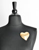 YSL Vintage Brushed Gold Signature Heart Brooch - Amarcord Vintage Fashion  - 3