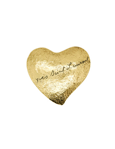 YSL Vintage Brushed Gold Signature Heart Brooch