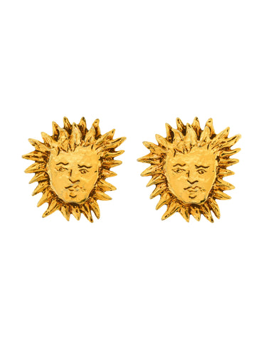 YSL Vintage Small Robert Goossens Iconic Gold Apollo Sun Face Earrings