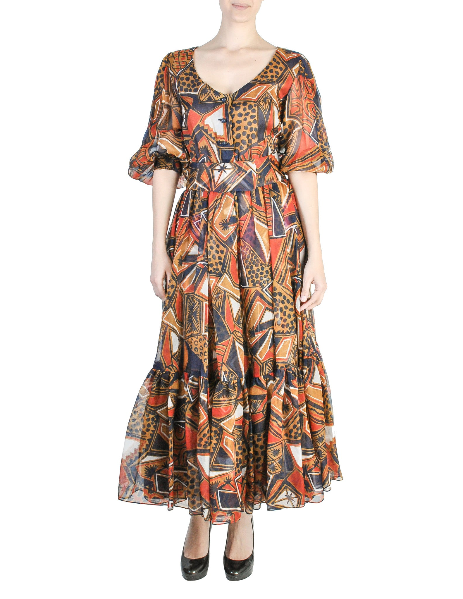 Saint Laurent Vintage Tribal Print Chiffon Maxi Dress - Amarcord Vintage Fashion  - 1