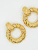 YSL Vintage Gold Dangle Hoop Earrings - Amarcord Vintage Fashion  - 4