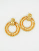 YSL Vintage Gold Dangle Hoop Earrings - Amarcord Vintage Fashion  - 3
