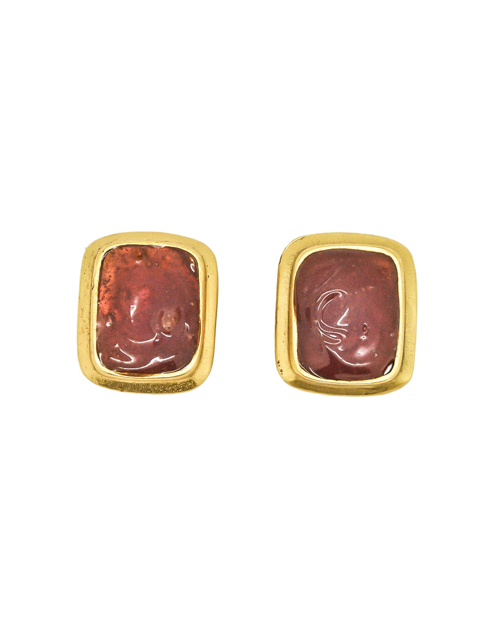 YSL Vintage Gold Resin Earrings - Amarcord Vintage Fashion  - 1