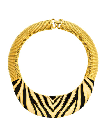 Givenchy Vintage Gold Omega Zebra Enamel Necklace & Earrings Set