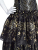 Zandra Rhodes Vintage 1988 Black Silver Gold Beaded Silk Ruffle Party Dress
