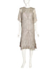 Zandra Rhodes Vintage Shell Rope Rhinestone Grey Silk Chiffon Sheer Dress