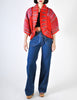 Zandra Rhodes Vintage Red Hand Painted Pleated Jacket - Amarcord Vintage Fashion  - 2