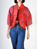 Zandra Rhodes Vintage Red Hand Painted Pleated Jacket - Amarcord Vintage Fashion  - 3