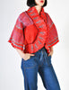 Zandra Rhodes Vintage Red Hand Painted Pleated Jacket - Amarcord Vintage Fashion  - 6
