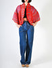 Zandra Rhodes Vintage Red Hand Painted Pleated Jacket - Amarcord Vintage Fashion  - 4