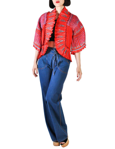 Zandra Rhodes Vintage Red Hand Painted Pleated Jacket