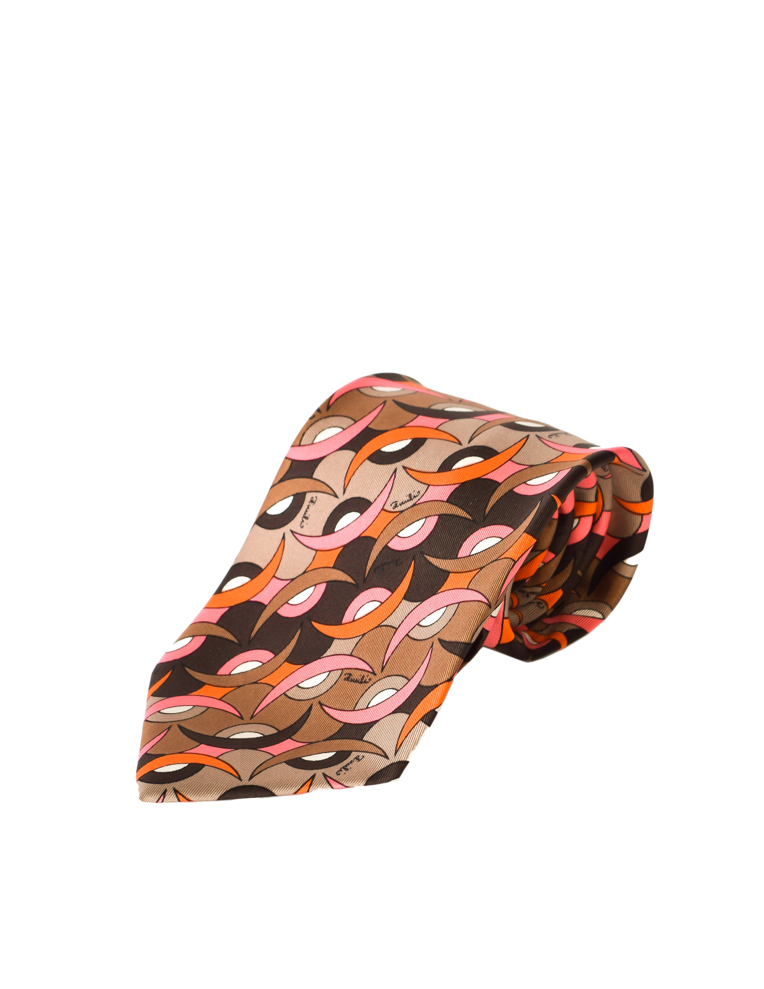 Emilio Pucci Vintage Brown and Pink Mod Graphic Silk Neck Tie