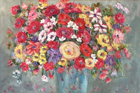 Kate Bruce floral acrylic painting red and yellow roses turquoise vase