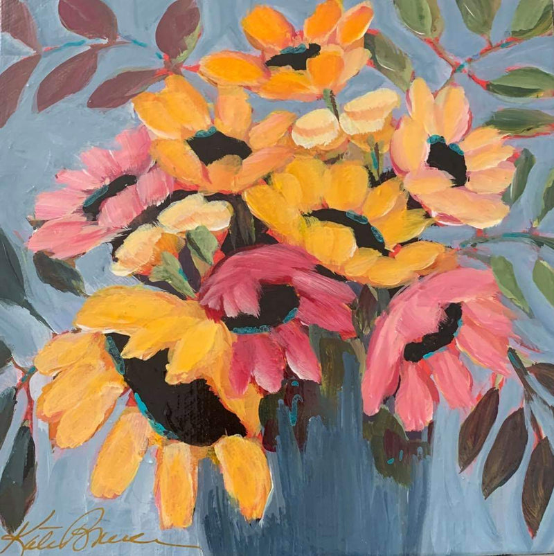 Kate Bruce acrylic floral paintings bright bold happy