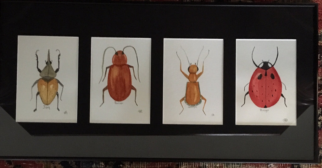 The Beetles, original watercolor painting, 10x20""
