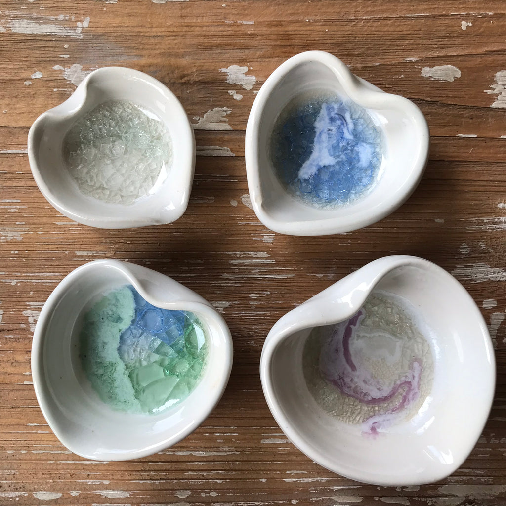 pottery heart bowl with recycled glass