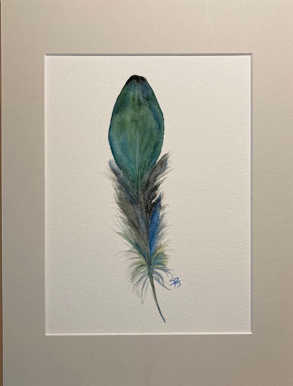Framed Blue-Green Feather