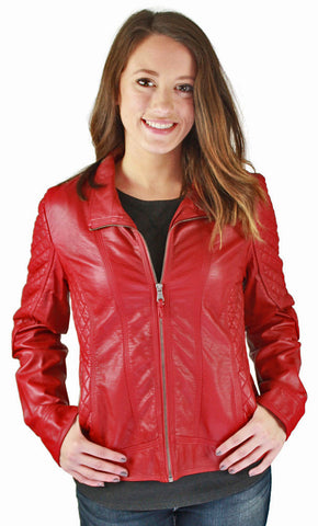 Jessica Simpson Women's Quilted Faux Leather Moto Jacket