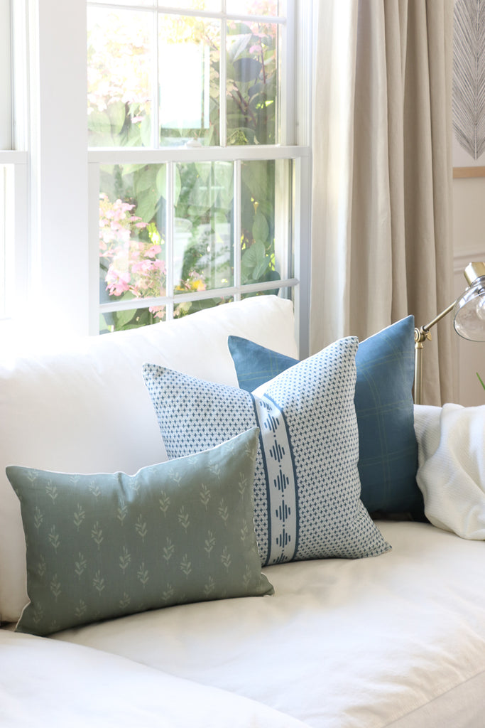 Handcrafted Startop Diamond Pillow Cover In Chambray-Startop Diamond-The Montauk Collection