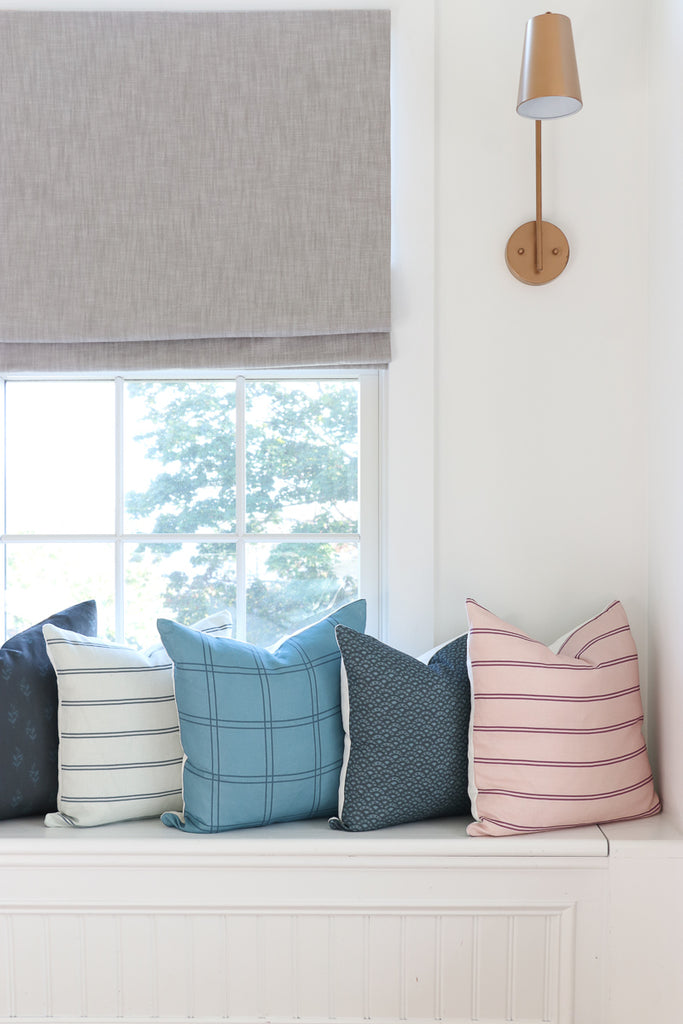 Handcrafted Surfside Stripe Pillow Cover In Chambray-Surfside Stripe-The Montauk Collection