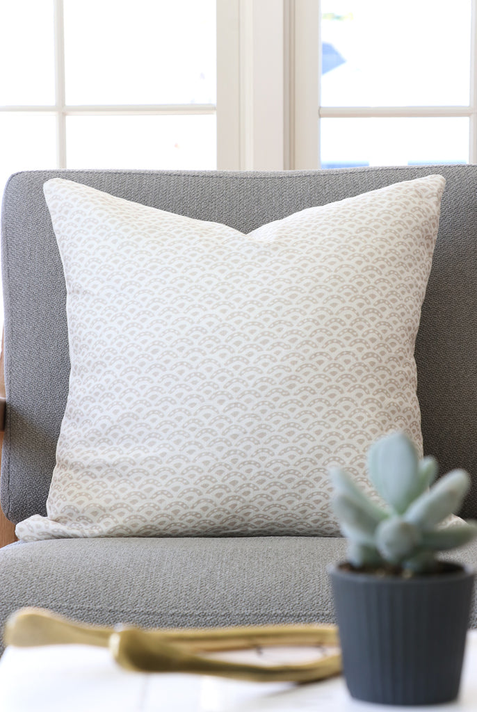 Handcrafted scalloped Linen Pillow Cover In Indigo-Duryea in Sand-Montauk Collection