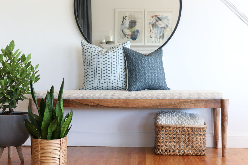 Emerson in Chambray + Duryea in Indigo. Montauk Pillow Collection-City Farmhouse