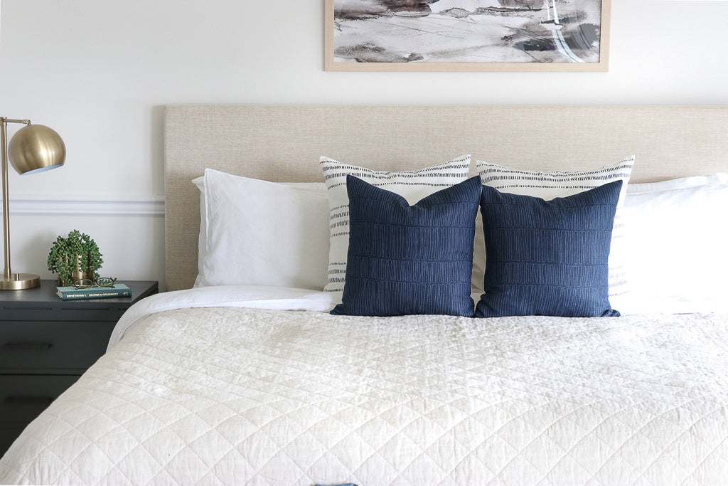 Handcrafted Emey Pillow Cover In Indigo-Emey-The Montauk Collection