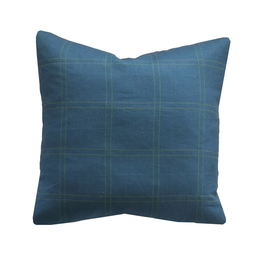 Handcrafted Duval Grid Pillow Cover In Denim Blue-Duval Grid-The Montauk Collection