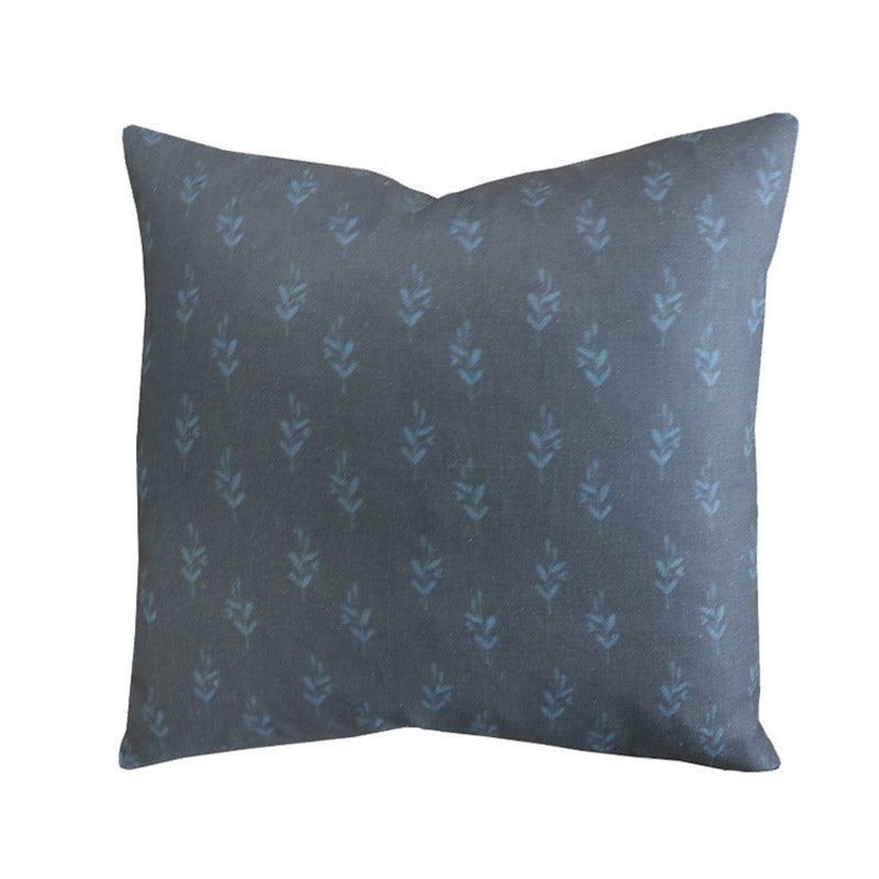 Handcrafted Floral Linen Pillow Cover In Indigo-Bayberry Indigo-Montauk Collection