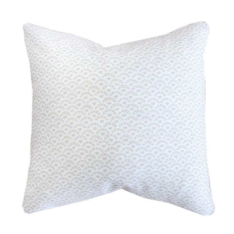 Handcrafted scalloped Linen Pillow Cover-Duryea in Sand. Montauk Collection