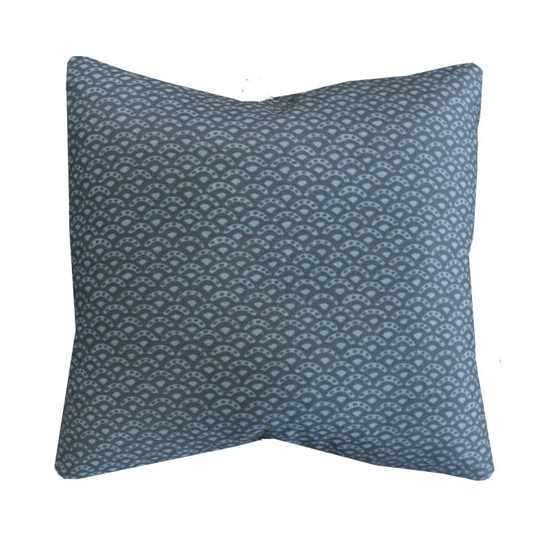 Handcrafted scalloped Linen Pillow Cover In Indigo-Duryea in Indigo-Montauk Collection
