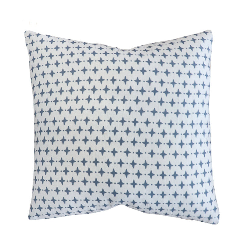 Handcrafted Emerson Petite Diamond Pillow Cover In Chambray-Emerson Petite Diamond-The Montauk Collection