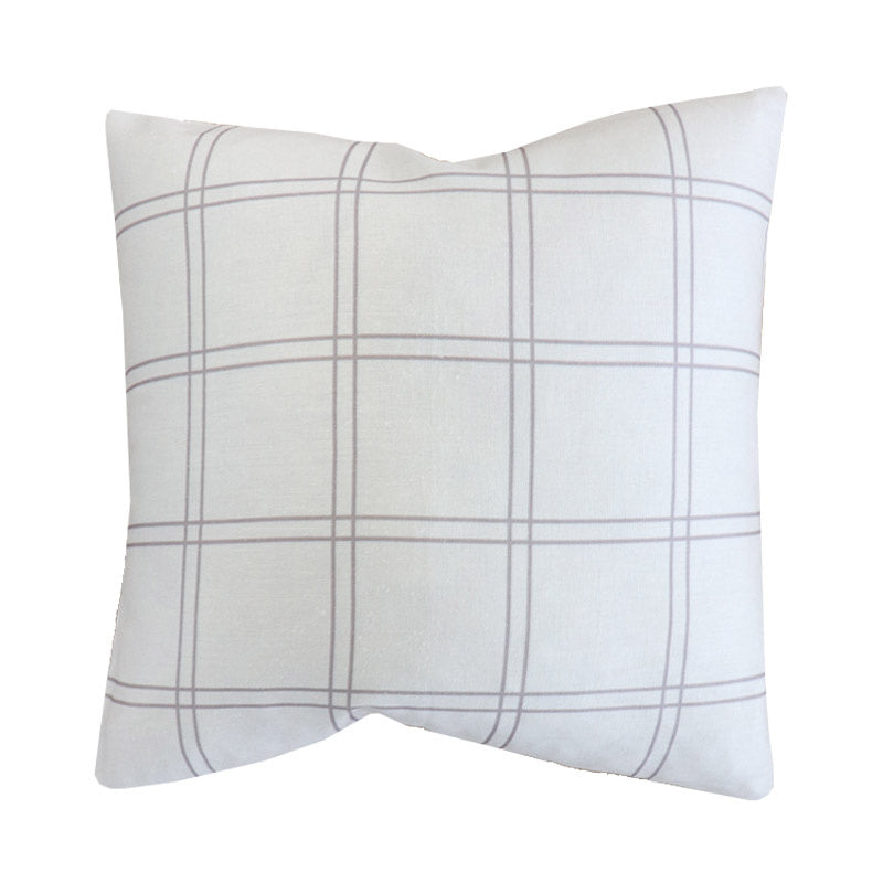 Handcrafted Duval Grid Pillow Cover In Sand -Duval Grid-The Montauk Collection