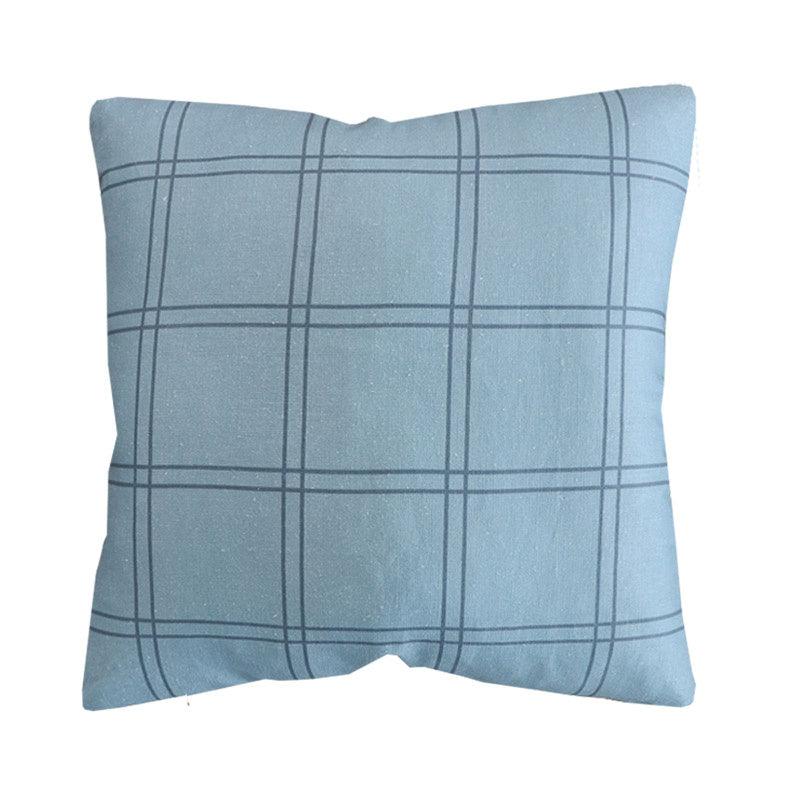 Handcrafted Duval Grid Pillow Cover In Surf Blue-Duval Grid-The Montauk Collection