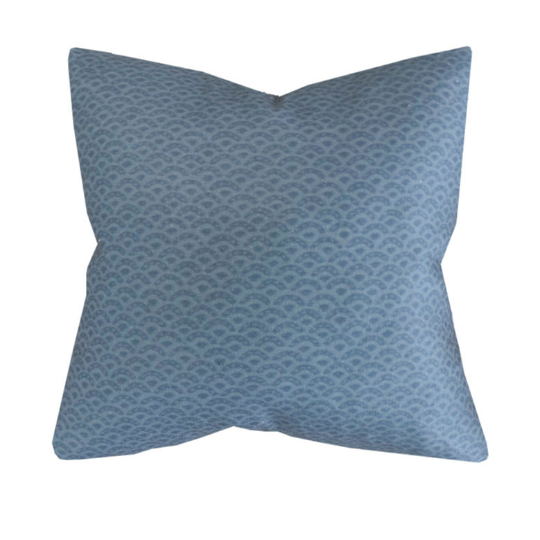 Handcrafted scalloped Linen Pillow Cover In Indigo-Duryea in Dark Sea-Montauk Collection