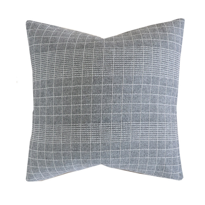 Vintage Gray Grid Hmong Pillow Cover