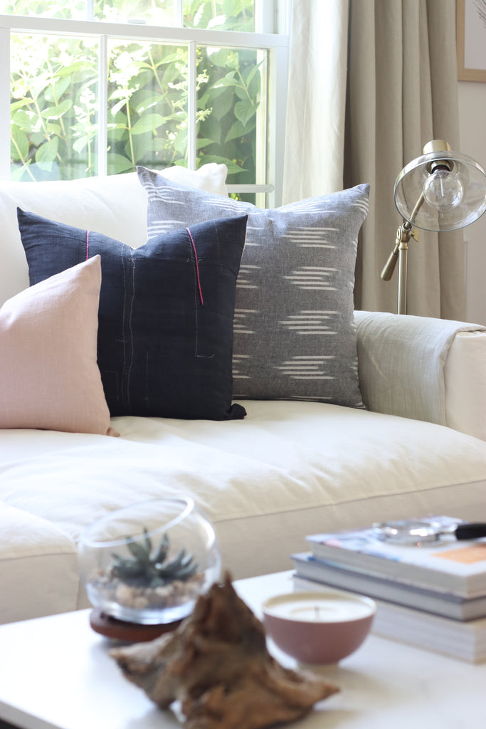 Handcrafted Loletta Pillow Cover In Indigo Blue-Loletta-The Montauk Collection