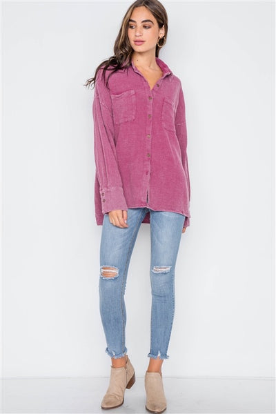 Plum Button-Up