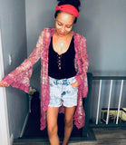 Pink Floral and Lace Kimono